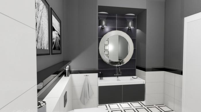 Łazienka w czarno-bieli